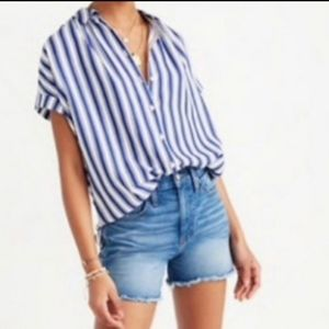 Madewell Central Shirt In Shea Stripe Size Large